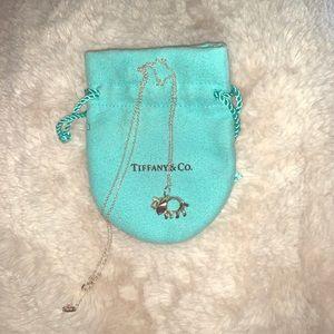 Tiffany Elephant necklace with green gemstone